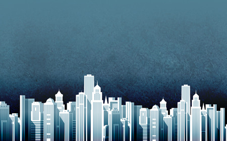 erection: night modern city on background of sky. vector illustration