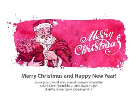 gift bag: happy Santa Claus with gift bag. vector illustration