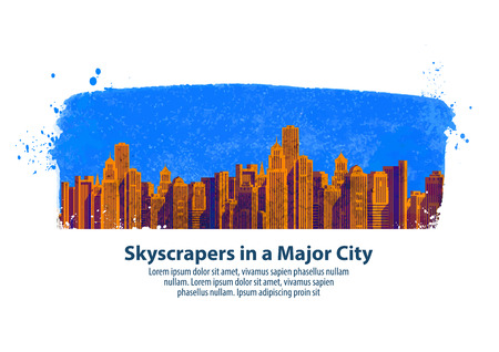 clear sky: skyscrapers in a major city on the background of clear sky. vector illustration