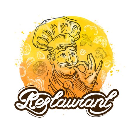 gusto: hand-drawn merry chef and the food. vector illustration