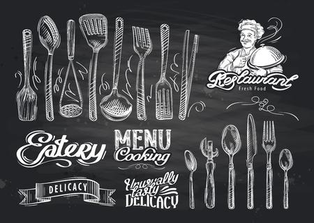 knife and fork: vector hand drawn restaurant sketch and cafe doodle