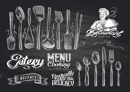 cuchillo: vectorial croquis dibujado a mano restaurante y la cafetería del doodle