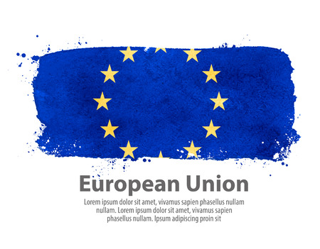 european union currency: hand-drawn flag of European Union isolated on white background Illustration