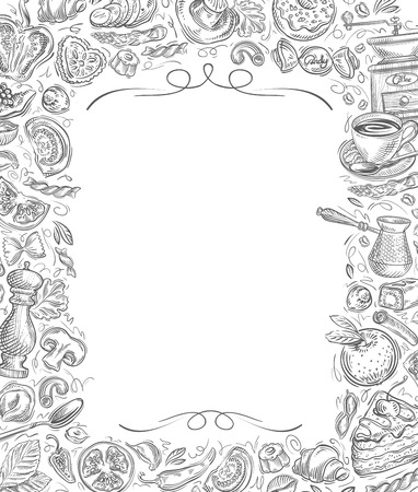 food and drinks: hand-drawn drinks and food on a white background. vector illustration