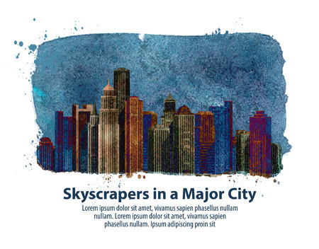 skyscrapers in a major city. vector illustration