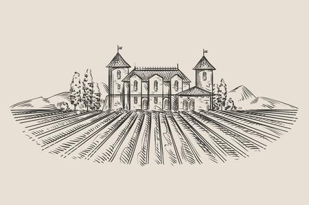 castillos: vector dibujado a mano retro viñedo. ilustración vectorial