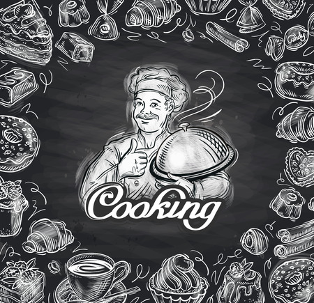 food illustration: hand drawn chef and the food. vector illustration Illustration