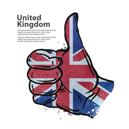 sign ok: hand gesture on the background of the flag of England. vector illustration