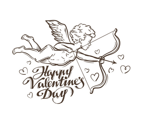 flying Cupid with bow and arrow on a white background