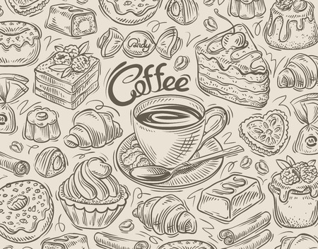 food and drinks: hand-drawn food and drinks. vector illustration