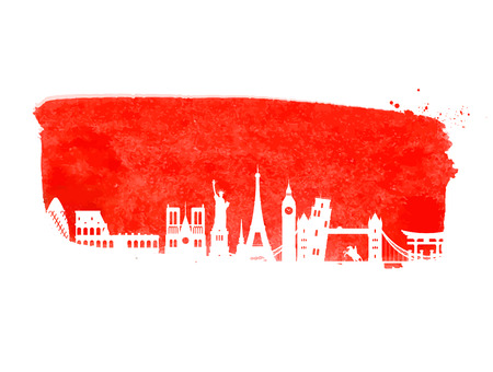 guided: historic building countries on a red background. vector illustration Illustration