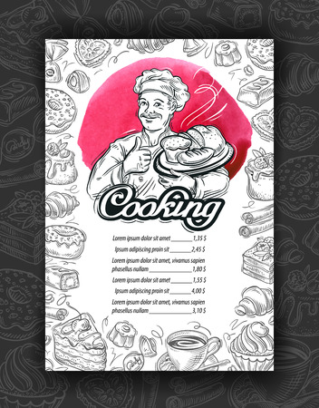 sweetshop: hand-drawn sketches of the chef and the food. vector illustration