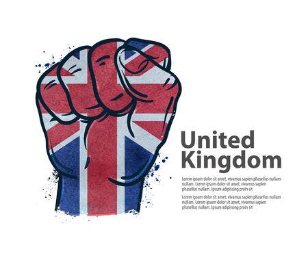 manos logo: gesto de mano de puño en el fondo de la bandera aisladas sobre fondo blanco. ilustración vectorial