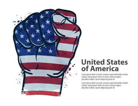 main geste poing sur le fond du drapeau isolé sur fond blanc. illustration vectorielle