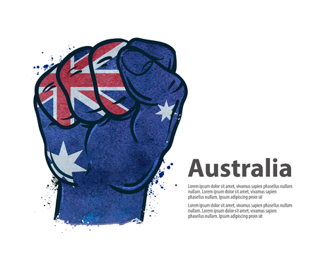 boycott: hand gesture on the background of the flag isolated on white background