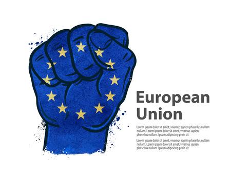 la union hace la fuerza: gesto de mano de puño en el fondo de la bandera aisladas sobre fondo blanco. ilustración vectorial