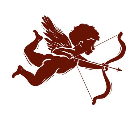 Amor mit Pfeil und Bogen fliegen auf weißem Hintergrund Standard-Bild - 51823214