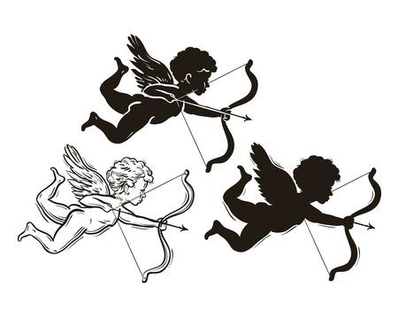 volare Cupido con arco e freccia isolato su sfondo bianco Vettoriali