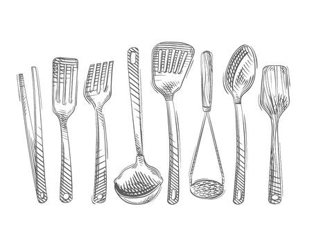 wooden scoop: kitchen utensils isolated on white background. vector illustration
