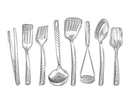 kitchen utensils isolated on white background. vector illustration