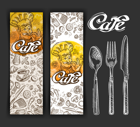 delicatessen: hand-drawn sketches on the theme of food and dining. vector illustration Illustration