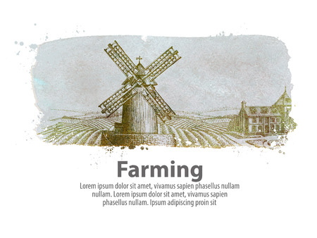 arable: farm buildings in the background of a plowed field. vector illustration