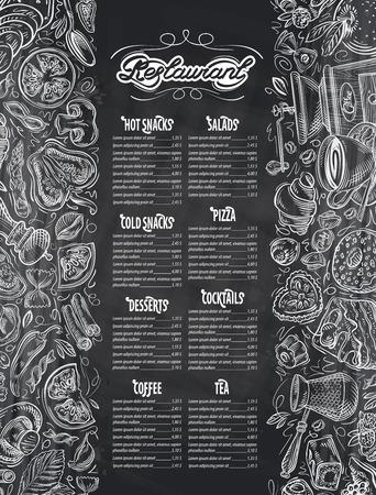 食べ物や飲み物をテーマにデザイン要素を持つレストランのメニュー。ベクトル図  イラスト・ベクター素材
