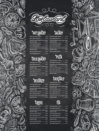 restaurant menu with design elements on the subject of food and drink. vector illustration Ilustração