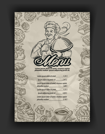 chocolate brownie: hand drawn restaurant menu elements on the subject of food and drink