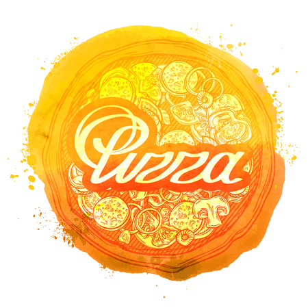 handdrawn: hand-drawn sketch pizza isolated on white background. vector illustration Illustration