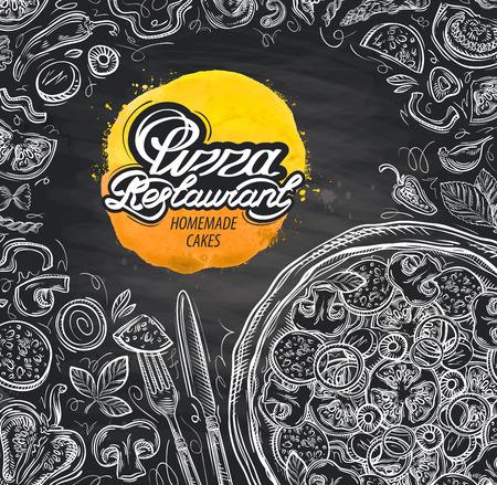 comida italiana: croquis dibujado a mano la pizza italiana. ilustración vectorial Vectores