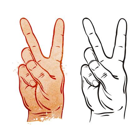simbolo della pace: gesto della mano isolato su sfondo bianco. illustrazione vettoriale