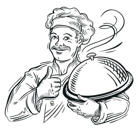 그의 손에 트레이가있는 요리사의 스케치를 손으로 그린. 벡터 일러스트 레이 션 일러스트