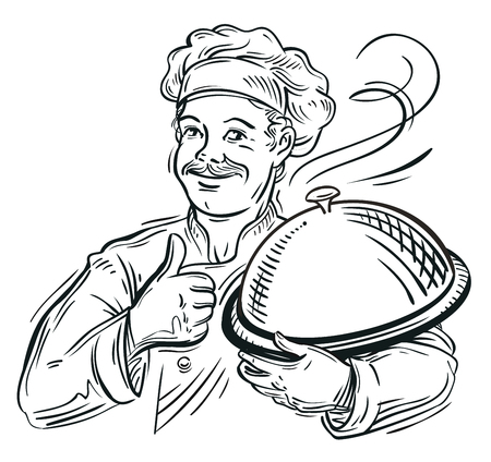 italian chef: hand-drawn sketch of a chef with a tray in his hand. vector illustration