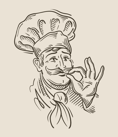 gusto: hand drawn sketch of a happy chef. vector illustration Illustration