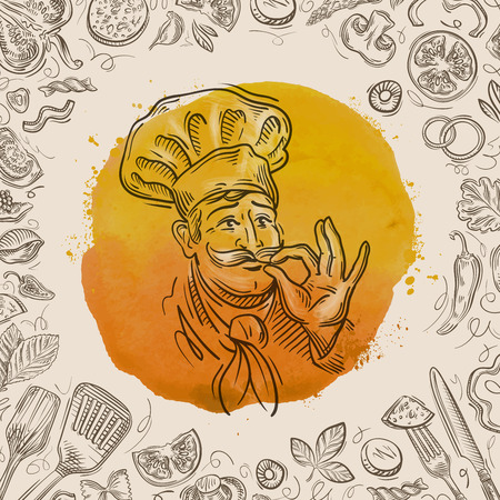 gastronomy: hand drawn sketch, the food and the chef. vector illustration