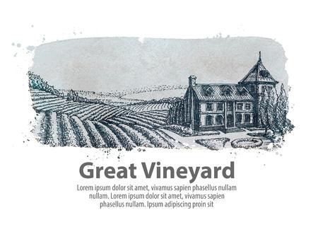 handgetekende schets op het thema van de landbouw en de wijngaard. vectorillustratie Stock Illustratie
