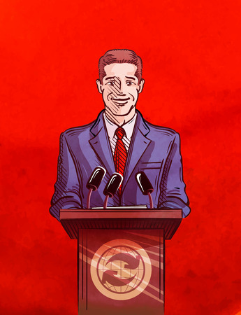 correspondent: the man speaks behind a podium. vector illustration