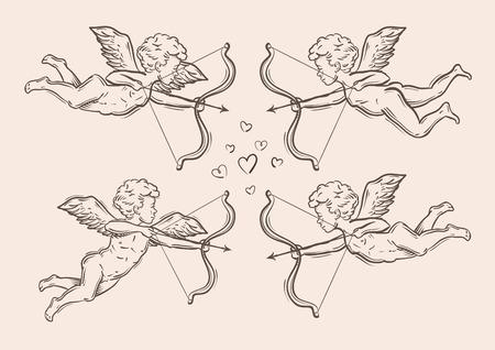 cherub: hand-drawn sketches of Cupid, cherub. vector illustration