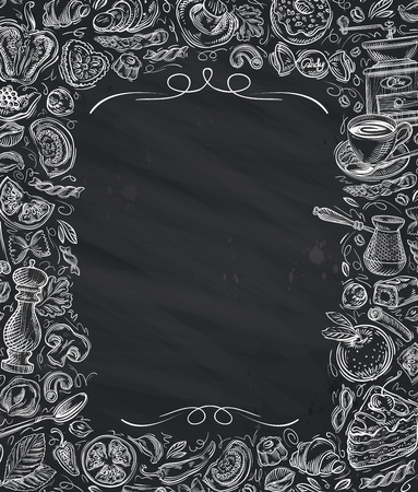 chalk frame: Restaurant, cafe vector menu design template