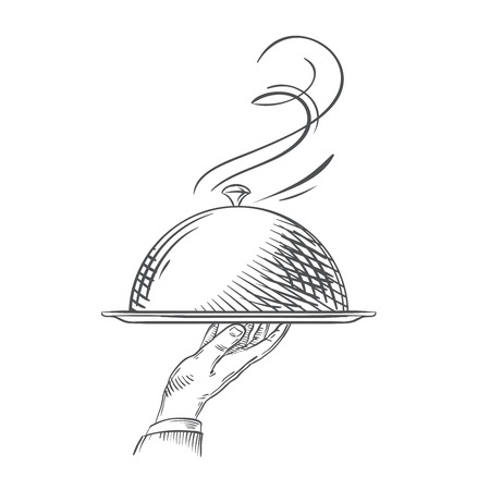 hand-drawn sketch of a hand holding a tray of food. vector illustration Vettoriali