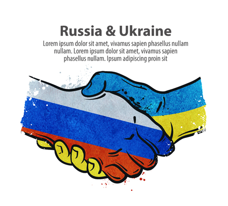 ukraine: handshake. Russia and Ukraine. vector illustration