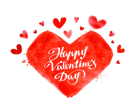 inscription: hand-drawn inscription happy Valentines day on red background heart