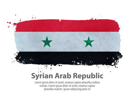 governmental: hand-drawn Syrian flag on a white background. vector illustration