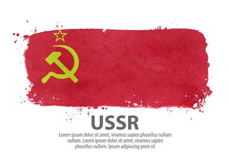socialism: hand-drawn USSR flag isolated on white background. vector illustration