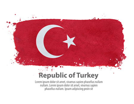 governmental: hand-drawn flag of Turkey on a white background. vector illustration