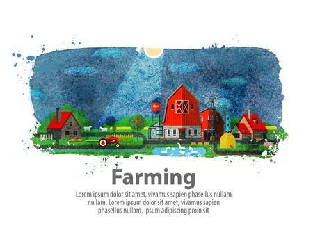 landscape gardener: hand drawn farm on a white background. vector illustration Illustration