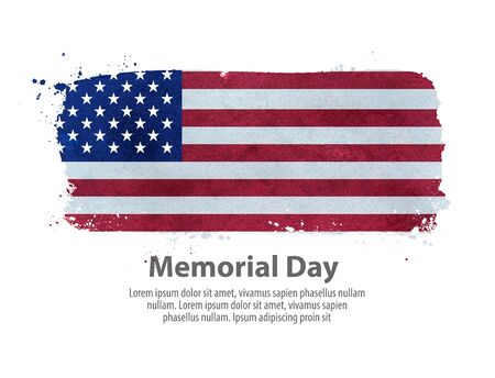 memorial day: hand-drawn US flag on a white background. vector illustration