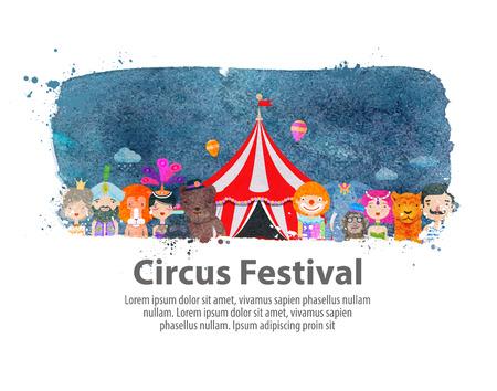 animales de circo y artistas sobre un fondo blanco. ilustración vectorial