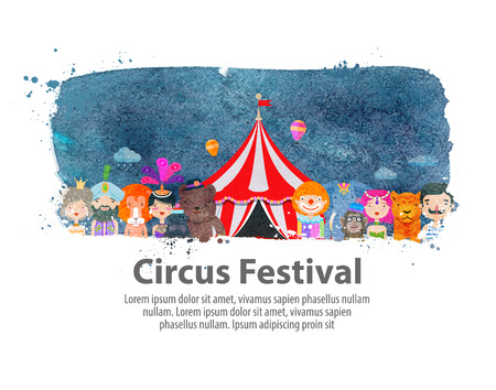 amusement: circus animals and performers on a white background. vector illustration